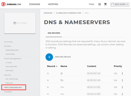 Editing DNS nameservers on Domain.com