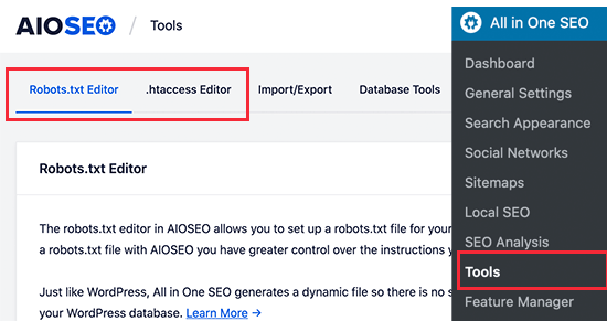 Robots.txt and .htaccess file editor in AIOSEO