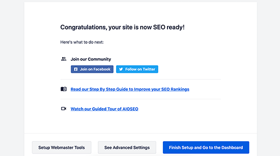 Finish All in One SEO set up Wizard