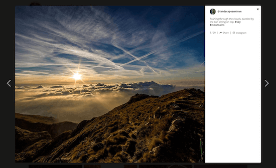 Instagram provender  plugin lightbox