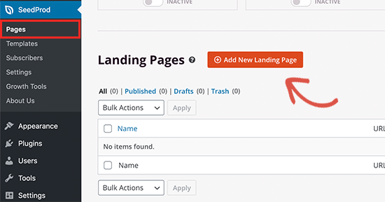Creating a new landing page