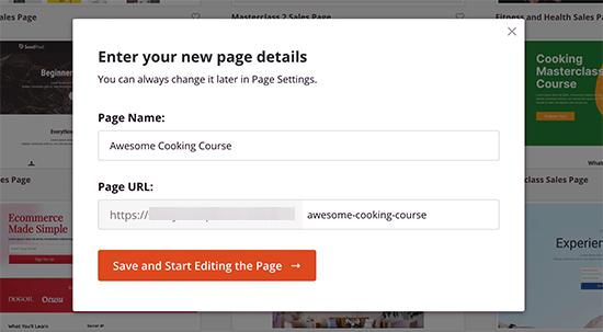 Choose page name and URL slug