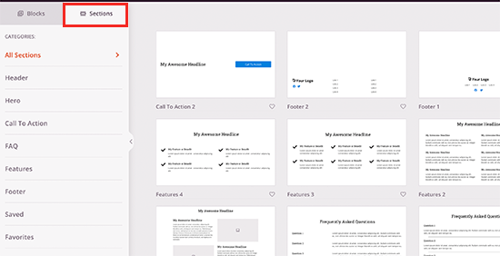 Add complete sections to your landing page