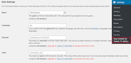 Twitch WordPress embed settings