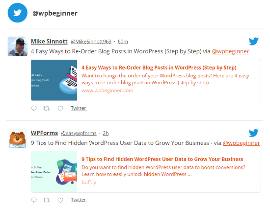 twitter feed example
