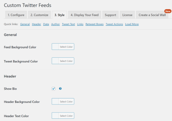 twitter feed style options