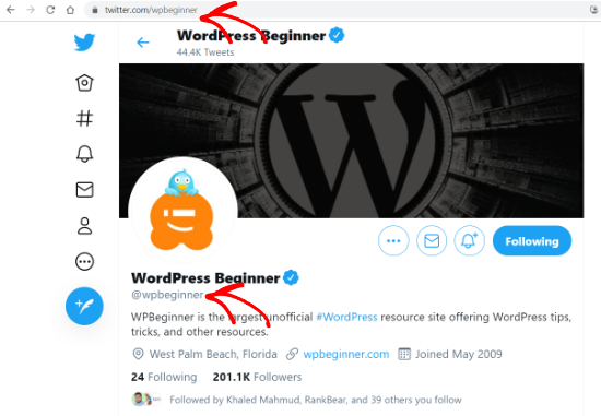 wpbeginner twitter profile