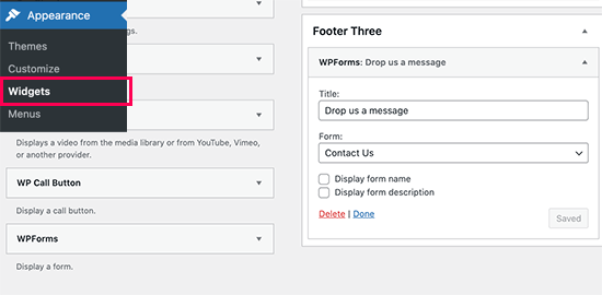 Add form widget to footer area