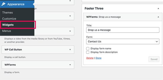 Aggiungi il widget del modulo all'area del piè di pagina