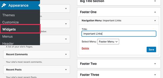Aggiungi il widget del menu di navigazione all'area del widget del piè di pagina