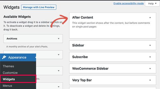 Dopo l'area dei widget dei contenuti