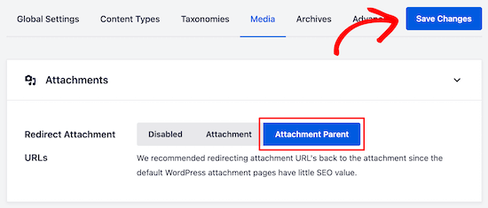 All in One SEO select attachment parent