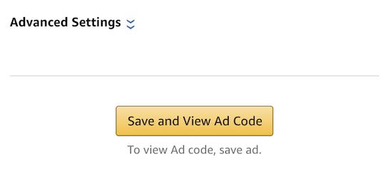 Save Amazon ad code