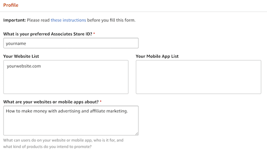 Amazon Associates account information