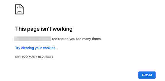 Error Too Many Redirects in Google Chrome