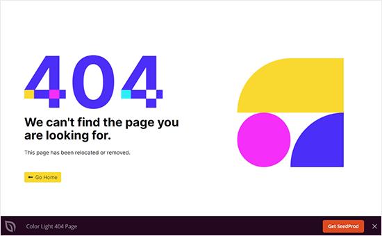 Color light error page