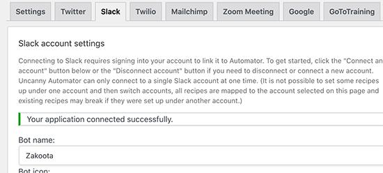 Successfully connected Slack to WordPress via Uncanny Automator