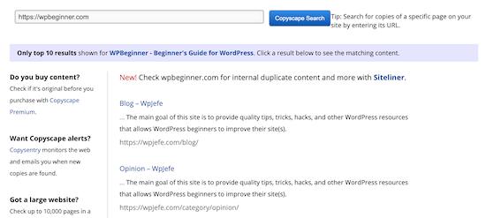 Copyscape stolen content results