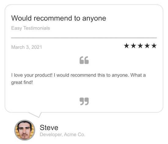Easy testimonials plugin review example