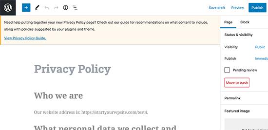 Modifica della pagina della privacy policy