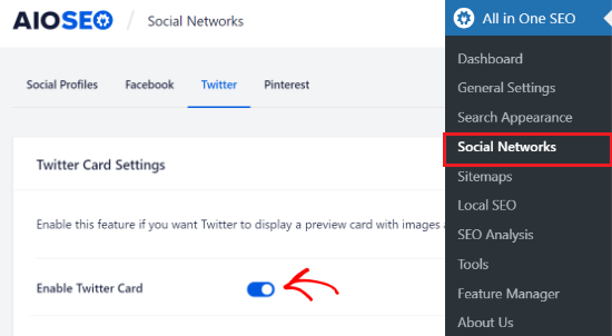 enable twitter card option