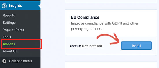 EU Compliance addon for MonsterInsights