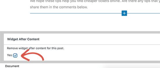 Nascondi dopo il widget del post