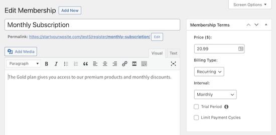 MemberPress membership page