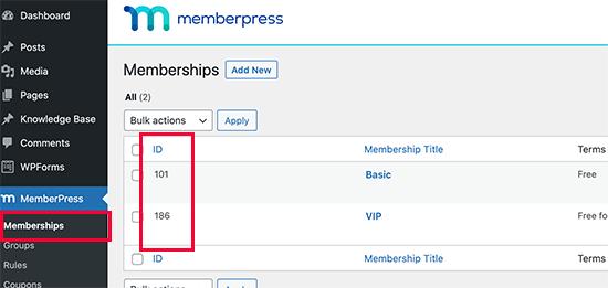 Finding a membership plan ID in MemberPress