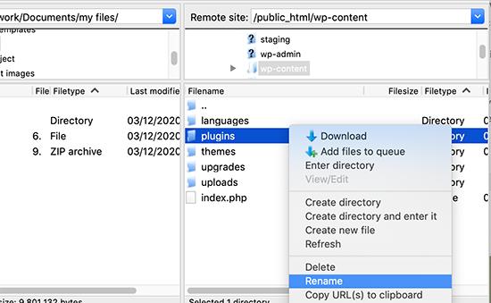 Renaming the plugins folder using FTP