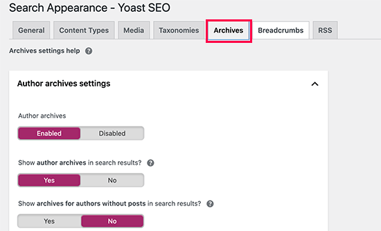 Disable author archives from appearing in search results