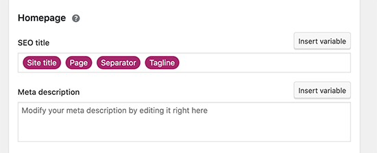 Adding homepage title and description