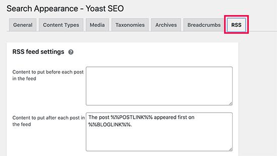 RSS settings in Yoast SEO