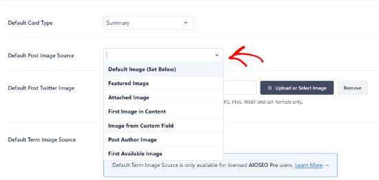 select default post image source