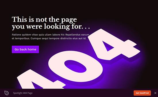 Spotlight error page