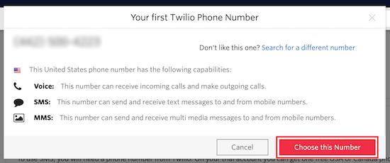 Twilio phone number