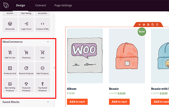 Blocchi WooCommerce in SeedProd