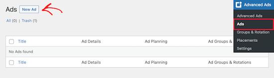 WP Advanced Ads add new