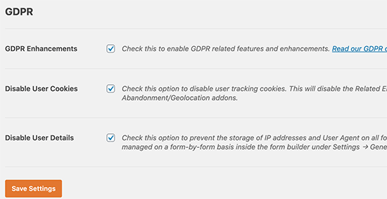 WPForms GDPR settings