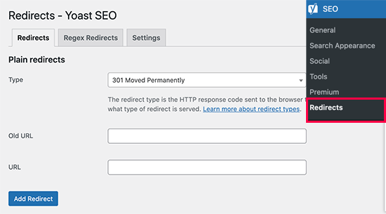 Redirects manager in Yoast SEO premium