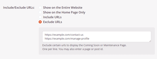 Exclude URLs from maintenance page