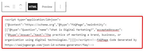 Aggiungi lo schema delle FAQ nell'editor dei blocchi