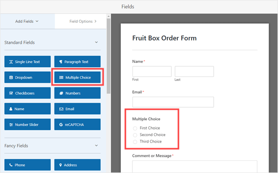 Adding a multiple choice field to your form
