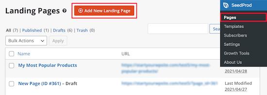 Add new landing page