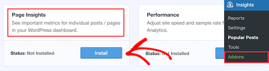 Add page insights addon
