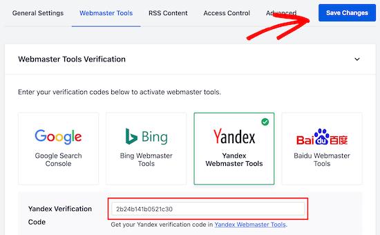 Add Yandex verification code