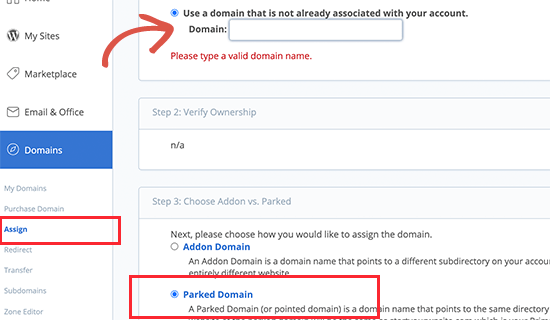 Adding parked domain in Bluehost