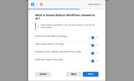 Allow Smash Balloon to manage pages