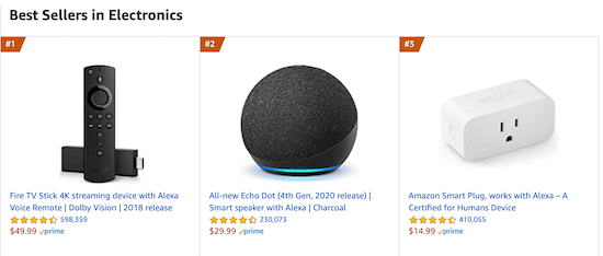 Amazon popular products example