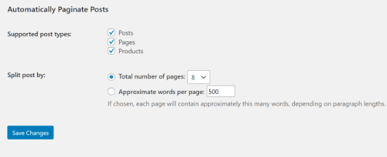 Automatically Paginate Posts section